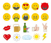 Emoticon vector icons set with thumbs up, chat and heart
