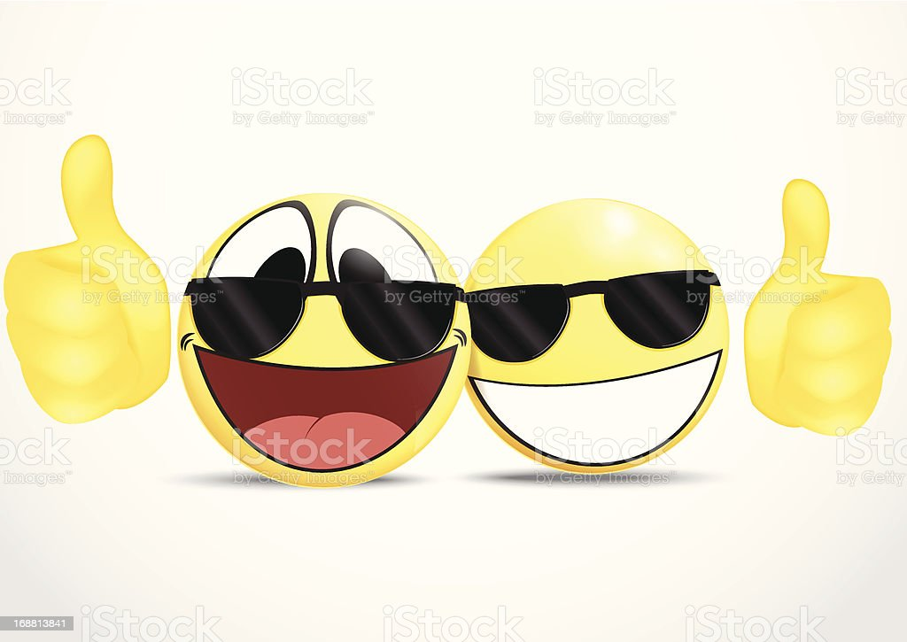 Emoticon Wearing Glasses with Thumb .business commerce Vector Illustration Of Emoticon Wearing Glasses with Thumb .business commerce Anthropomorphic Smiley Face stock vector