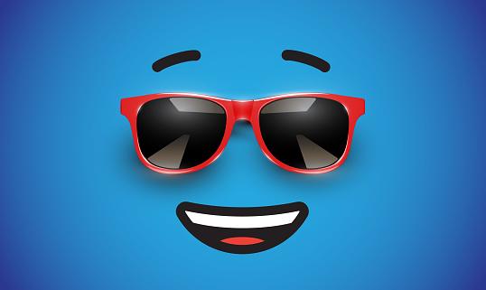 Emoticon with colorful realistic sunglasses, vector illustration