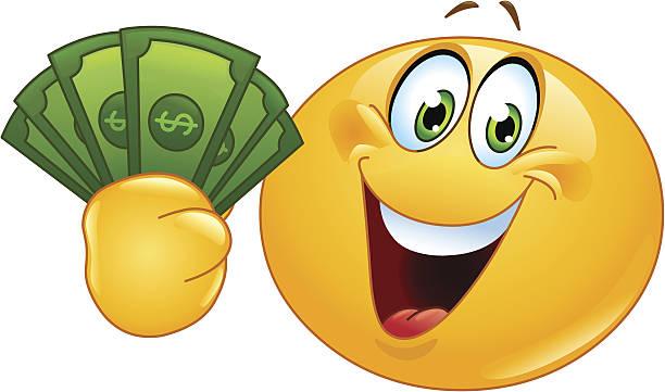 Emoticon with dollars Happy emoticon holding dollar bills american one hundred dollar bill stock illustrations