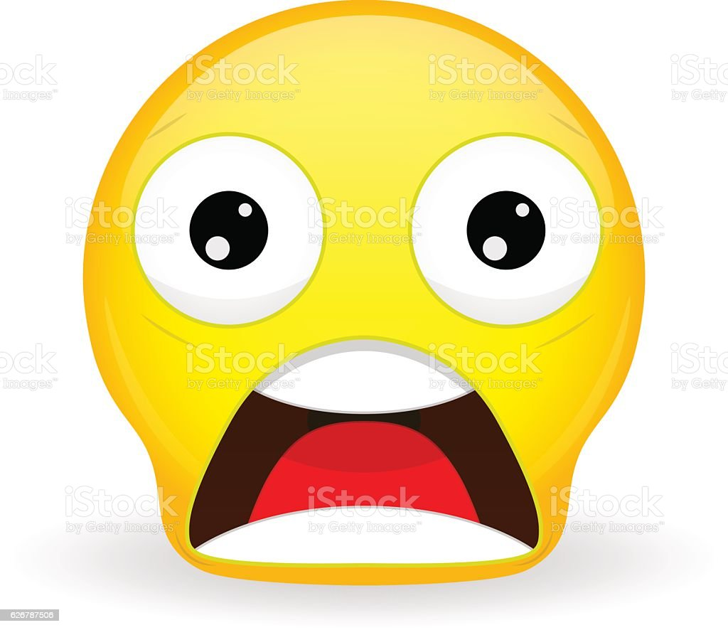 Emoticon with dropped jaw. Shock emoticon. Wow emoticon. Surprise emoji. - ilustración de arte vectorial