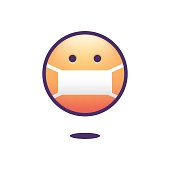 Vector illustration of an emoticon wearing a face mask to protect himself from contagious diseases like coronavirus and the flu. Cut out design element for social media platforms, the media, blogs, online messaging and modern times and lifestyles.