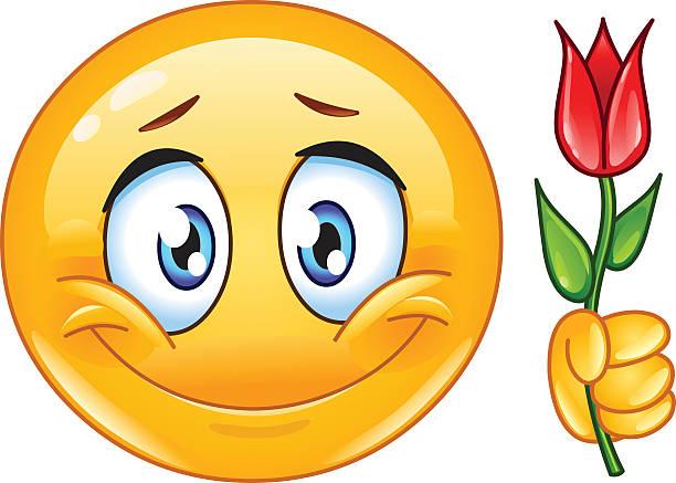 illustrations, cliparts, dessins animés et icônes de émoticon avec fleurs - ballon anniversaire smiley