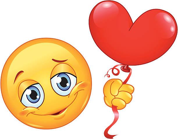 illustrations, cliparts, dessins animés et icônes de émoticon avec ballon coeur - ballon anniversaire smiley