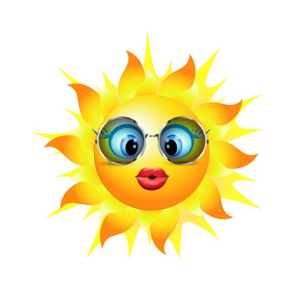 emoticon mit herzförmigen trend-sonnenbrille. cartoon-sonne einen kuss senden. vektor-3d illustration - extravagant schutzbrille stock-grafiken, -clipart, -cartoons und -symbole