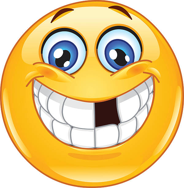 emoticon with missing teeth - toothy smile stock illustrations