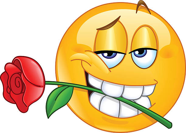 Emoticon with rose between teeth vector art illustration