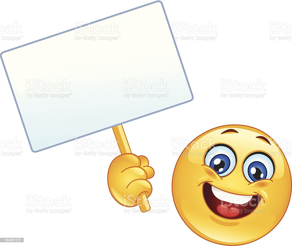 Emoticon with sign vector art illustration