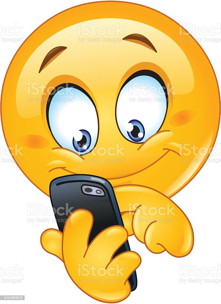 Emoticon With Smart Phone Stock Vector Art More Images Of Adult