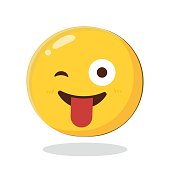 Emoticon with stuck out tongue and winking eye. Cartoon Isolated vector illustration on white background