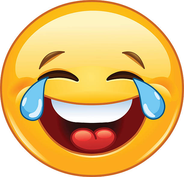 emoticon with tears of joy - tears of joy emoji stock illustrations