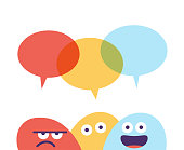 Vector illustration of a set of colorful emoticons talking with speech bubbles over their heads. Cut out design elements on a white background.