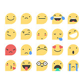 Vector illustration of a collection of essential emoticons in flat design and colors and with a speech bubble shape. Perfect for social media and design projects.