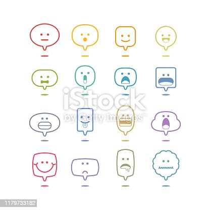 Emoticons basic collection on speech bubbles,vector illustration. EPS 10.