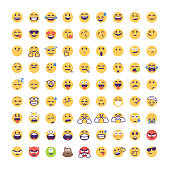 Vector illustration of a big collection of cute and colorful emoticons for social media platforms, online messaging and mobile apps, technology and business ideas and concepts, user interface projects and design projects in general. Cartoon style with flat colors and minimalistic design. Colors are global for easy editing.