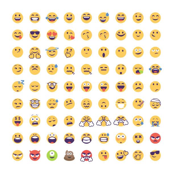 表情符號大收集卡通風格 - emoji 幅插畫檔、美工圖案、卡通及圖標