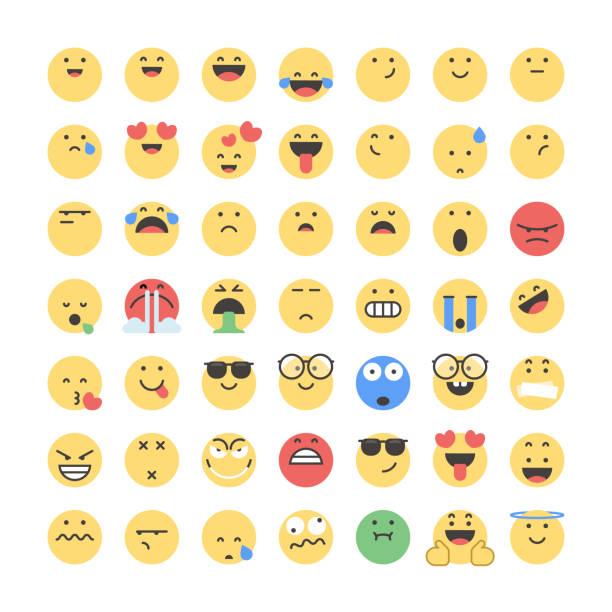 ilustraciones, imágenes clip art, dibujos animados e iconos de stock de emoticonos gran colección - emoji asustado