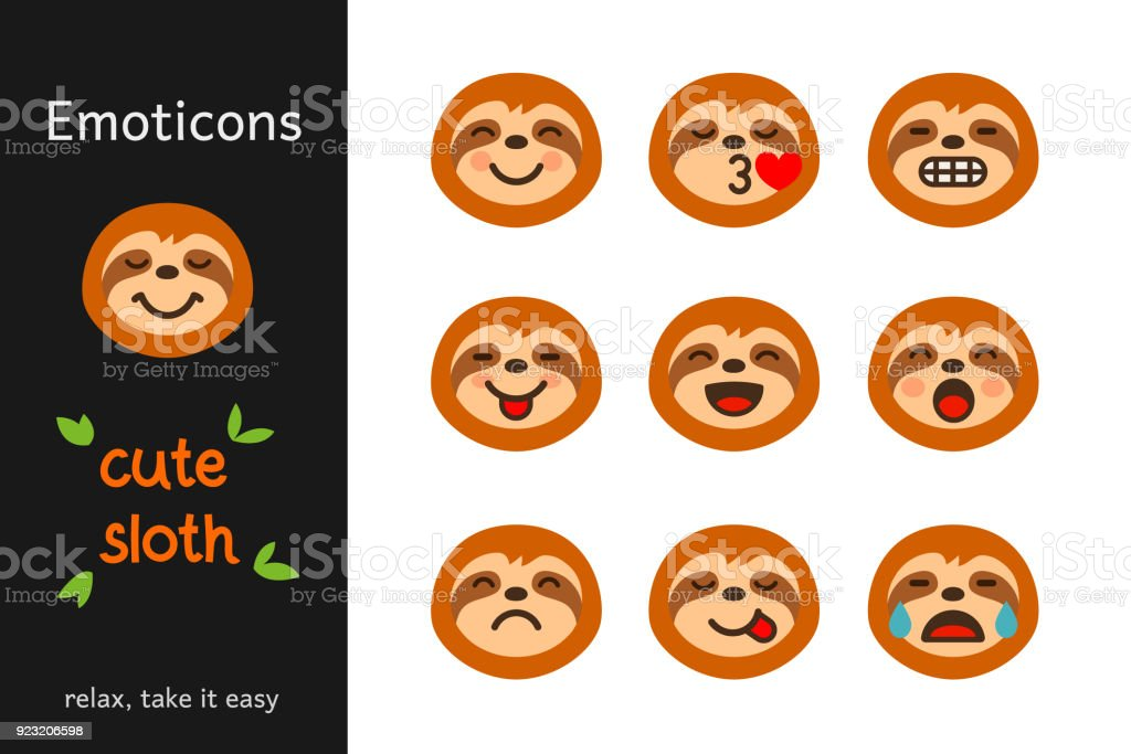 Emoticons big collection with sloth. Emoji for chat. Vector illustration set with lazybones faces in flat style with contour. vector art illustration
