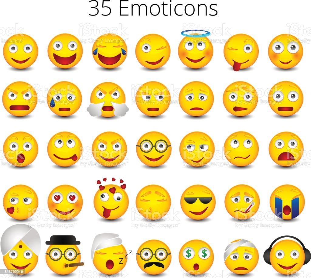Emoticons. Big set on white background. Emoji vector illustration vector art illustration