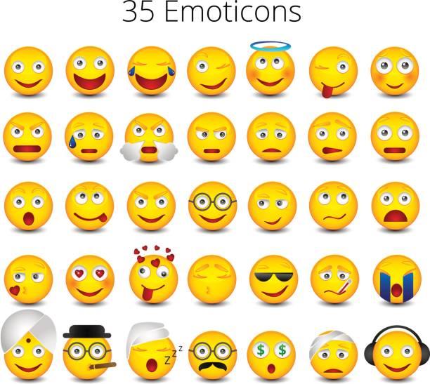 emoticons. groß auf weißem hintergrund gesetzt. emoji-vektor-illustration - trauriges emoji stock-grafiken, -clipart, -cartoons und -symbole