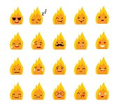 Emoticons bonfire vector set. Emoji cute Fire with face