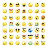 Vector illustration of a big collection of 49 emoticons in cute and realistic shadows design, perfect for social media and design projects, as well as web pages and marketing ads.