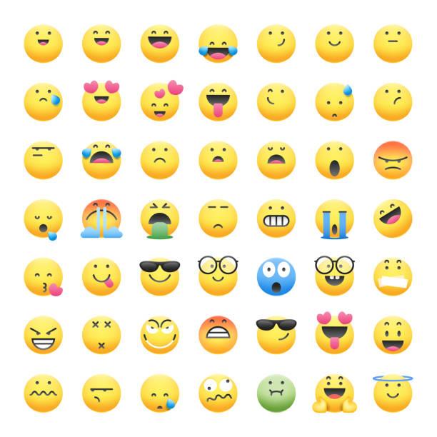 ilustraciones, imágenes clip art, dibujos animados e iconos de stock de emoticonos colección de sombras lindas y realistas - lágrimas de emoji alegre
