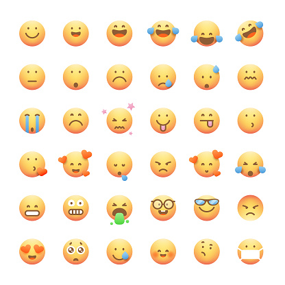 Emoticons collection cute and soft color gradients