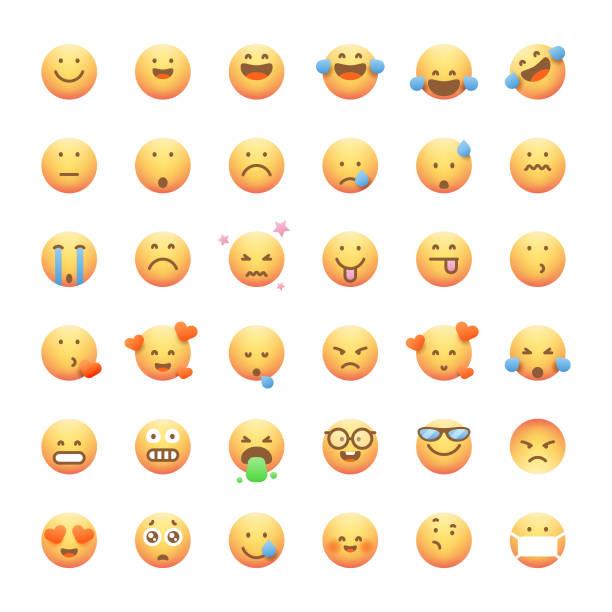 stockillustraties, clipart, cartoons en iconen met emoticons collectie schattige en zachte kleurverlopen - tears corona