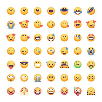 Emoticons collection cute color gradients