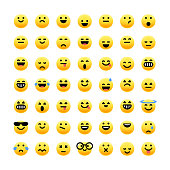 Vector illustration of a big collection of cute and colorful emoticons with realistic shadows.