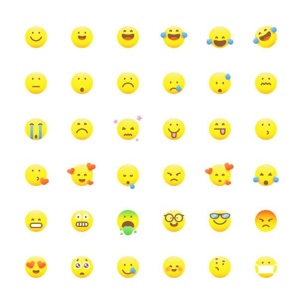 stockillustraties, clipart, cartoons en iconen met emoticons collectie schattige levendige kleuren - tears corona