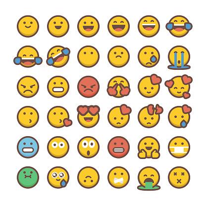 Emoticons collection flat colors contour line