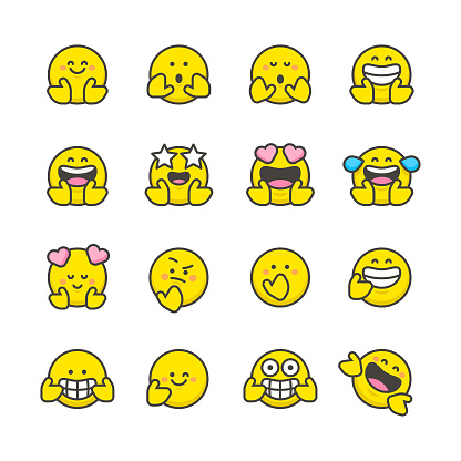 Emoticons collection flat design and line art
