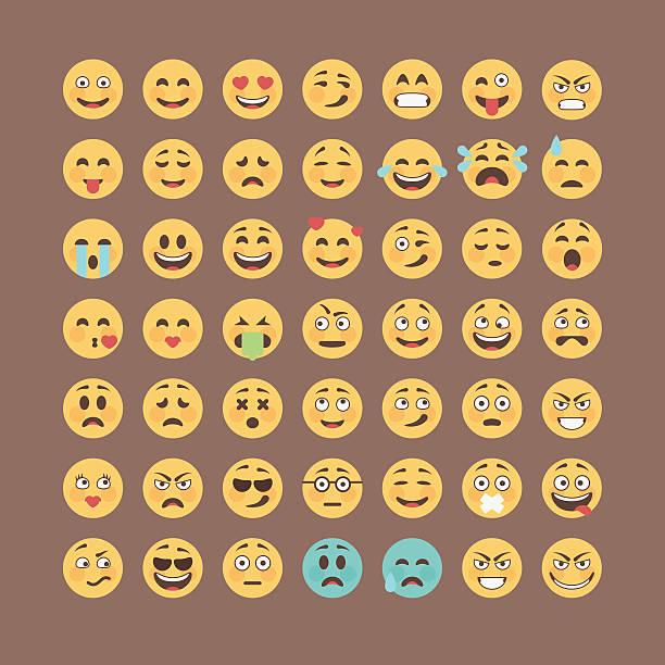 ilustrações, clipart, desenhos animados e ícones de coleção de emoticons. tv mensagem série. bonito ícone de risonhos pacote. - emoji de lágrimas de alegria