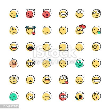 Vector illustration of a collection of cute and colorful emoticons with line art style and offset color