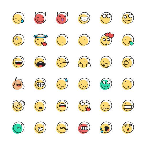 ilustraciones, imágenes clip art, dibujos animados e iconos de stock de la línea de colección de emoticonos y el color offset - lágrimas de emoji alegre