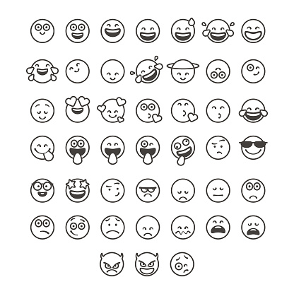 Emoticons collection line art style