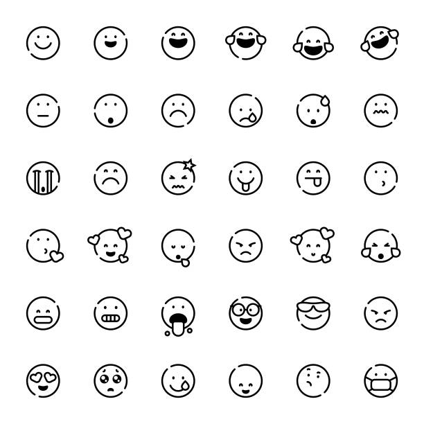 stockillustraties, clipart, cartoons en iconen met emoticons collectie lijn kunst - tears corona