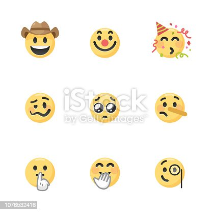 Vector illustration of a colletion of very cute and colorful emoticons. They are ideal for social media, design projects and web pages.