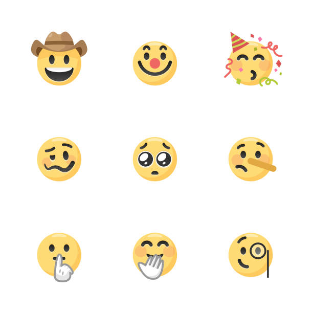 Emoticons collection Vector illustration of a colletion of very cute and colorful emoticons. They are ideal for social media, design projects and web pages. shy stock illustrations