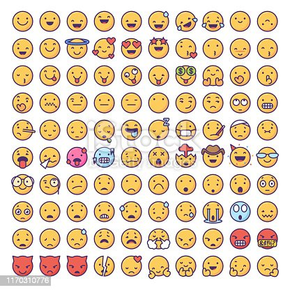 Vector illustration of a big collection of emoticons in flat color and line art design. Perfect for mobile apps, social media and design projects, as well as technology, business and online messaging design projects.