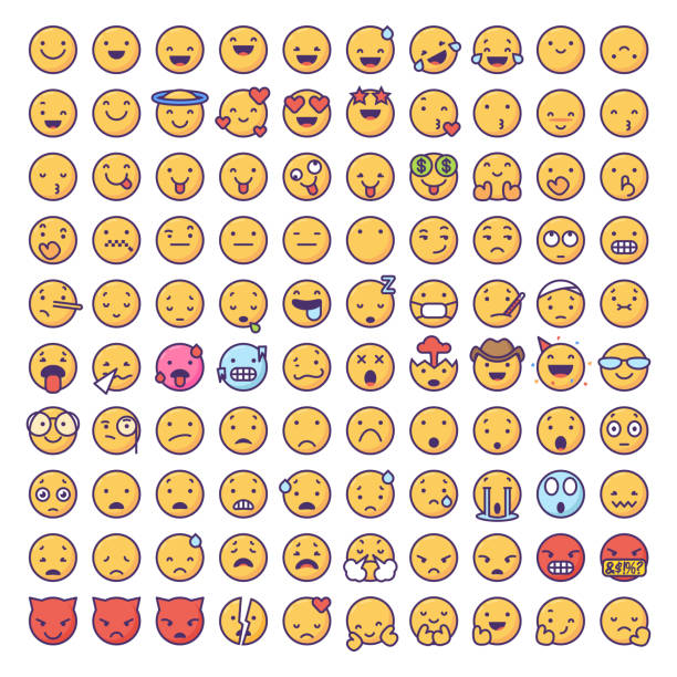 emoticons collection - antropomorficzny stock illustrations
