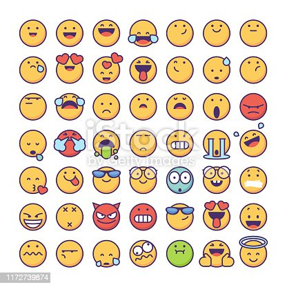 Vector illustration of a collection of cute and colorful emoticons. Perfect for social media, design projects, business and marketing ideas and concepts, and also online messaging and mobile apps.