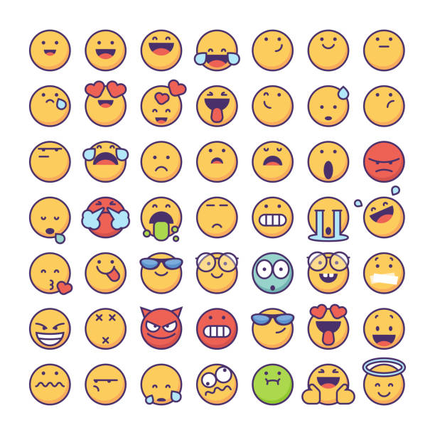 emoticons-sammlung - emoticon stock-grafiken, -clipart, -cartoons und -symbole