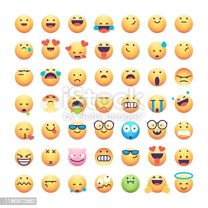 Vector illustration of a collection of 49 emoticons. Pixel perfect designs to use in social media platforms, online messaging and mobile apps, business and technology, ideas and concepts.