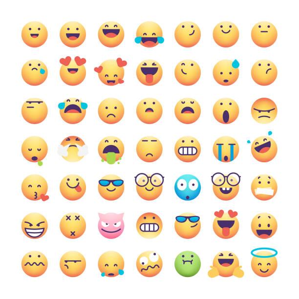 ilustrações, clipart, desenhos animados e ícones de coleção emoticons - social media