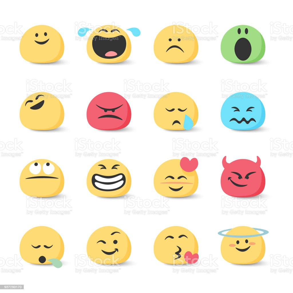 Emoticons collection vector art illustration