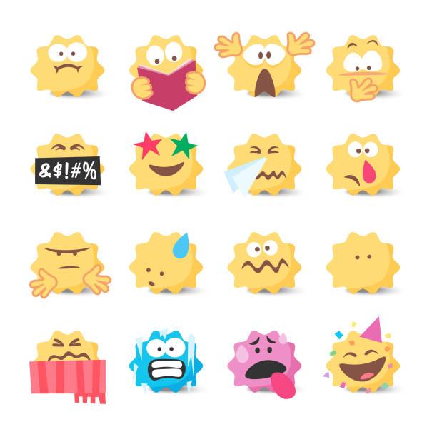 ilustraciones, imágenes clip art, dibujos animados e iconos de stock de colección de emoticonos - emoji confundido