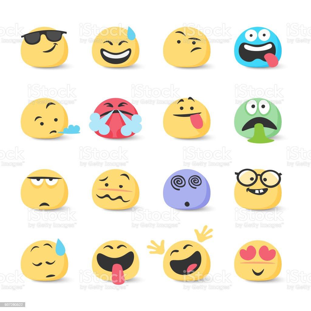 Coleção de emoticons - ilustração de arte em vetor
